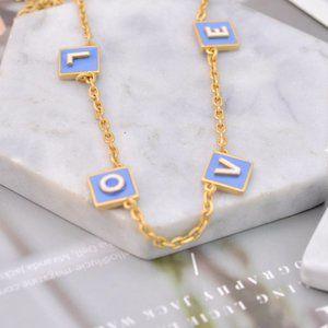 Tory Burch Enamel Letter Alphabet Necklace
